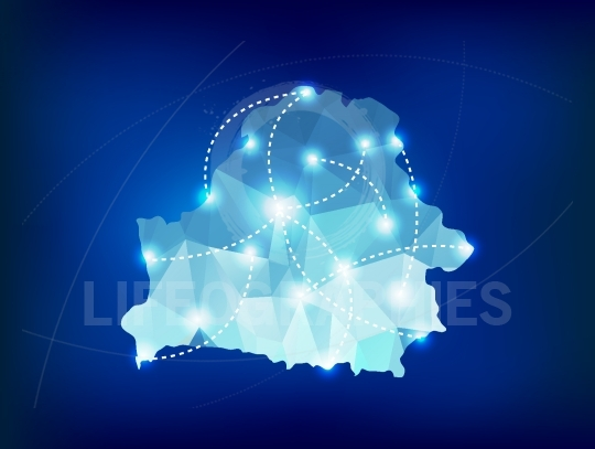Belarus country map polygonal with spot lights places