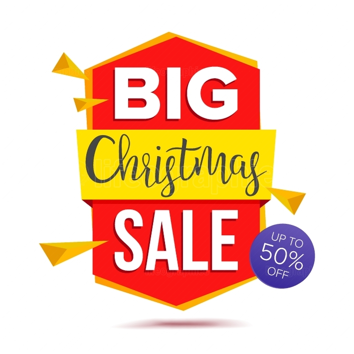 Big Christmas Sale Banner Vector  Big Sale Offer  Isolated On White Illustration