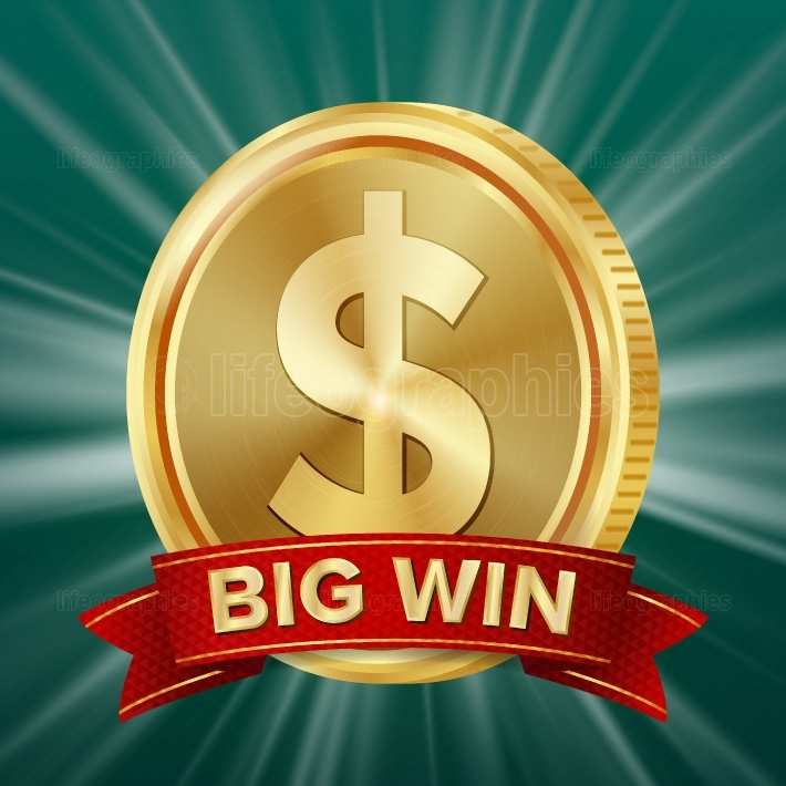Big Win Banner  Background For Online Casino, Gambling Club, Poker, Billboard  Gold Coins Jackpot Illustration