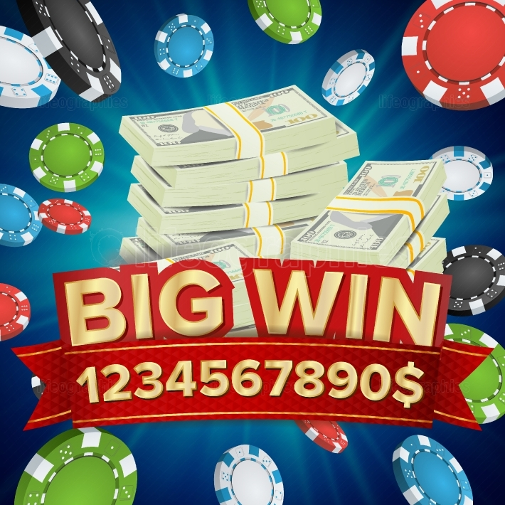 Big Win Banner  Background For Online Casino, Gambling Club, Poker, Billboard  Poker Chips Jackpot Illustration