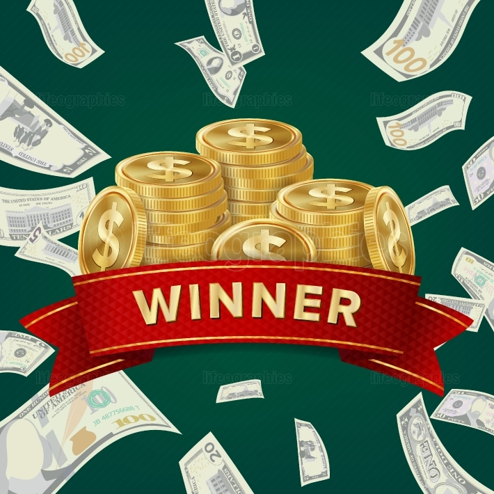 Big Win Billboard For Casino  Winner Sign  Jackpot Prize Design  Coins background