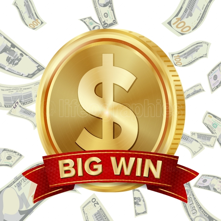 Big Win Sign Vector Background  Design For Online Casino, Poker, Roulette, Slot Machines, Playing Cards, Mobile Game  Coins Background