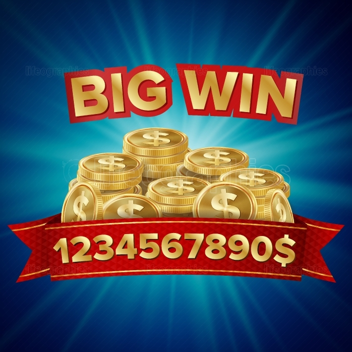 Big Win Vector  Background For Online Casino, Gambling Club, Poker, Billboard  Gold Coins Jackpot Illustration