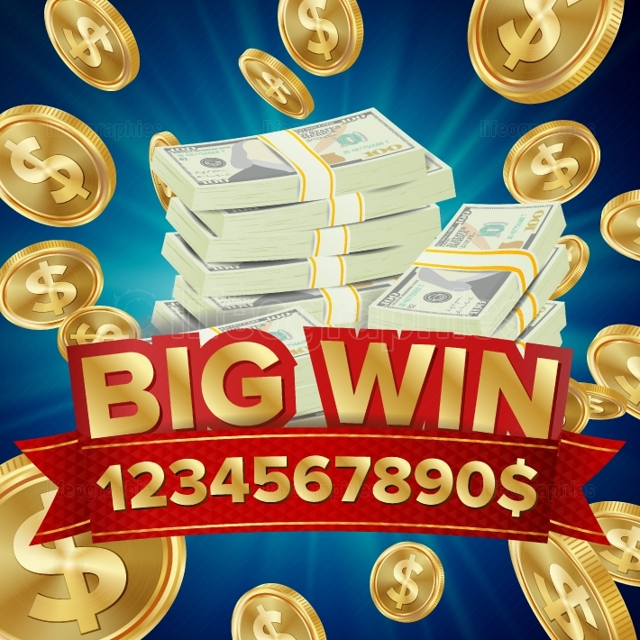 Big Win Vector  Big Winner Poster  You Win  Falling Explosion Golden Coins  Dollars Money Banknotes Stacks