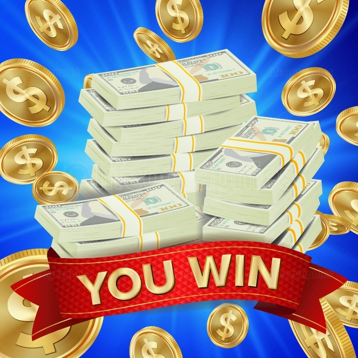 Big Winner Background Vector  Gold Coins Jackpot Illustration  Big Win Banner  For Online Casino, Playing Cards, Slots, Roulette  Money Banknotes Stacks