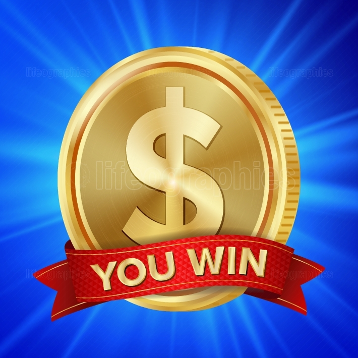 Big Winner Poster Vector  You Win  Dollar Golden Coin With Red Ribbon