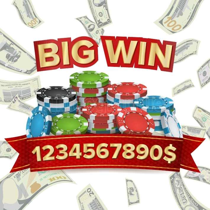 Big Winner Poster Vector  You Win  Explosion Money  Gambling Poker Chips