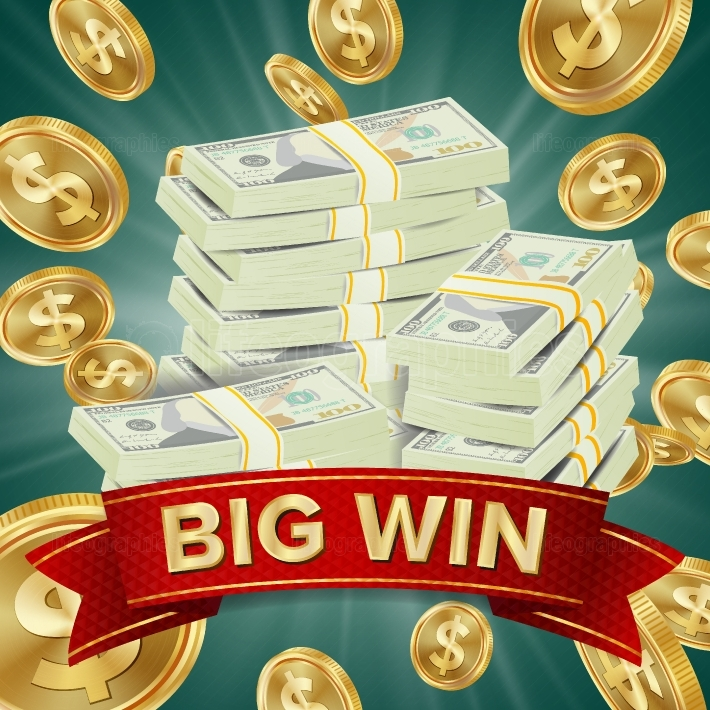Big Winner Poster Vector  You Win  Falling Explosion Golden Coins  Dollars Money Banknotes Stacks