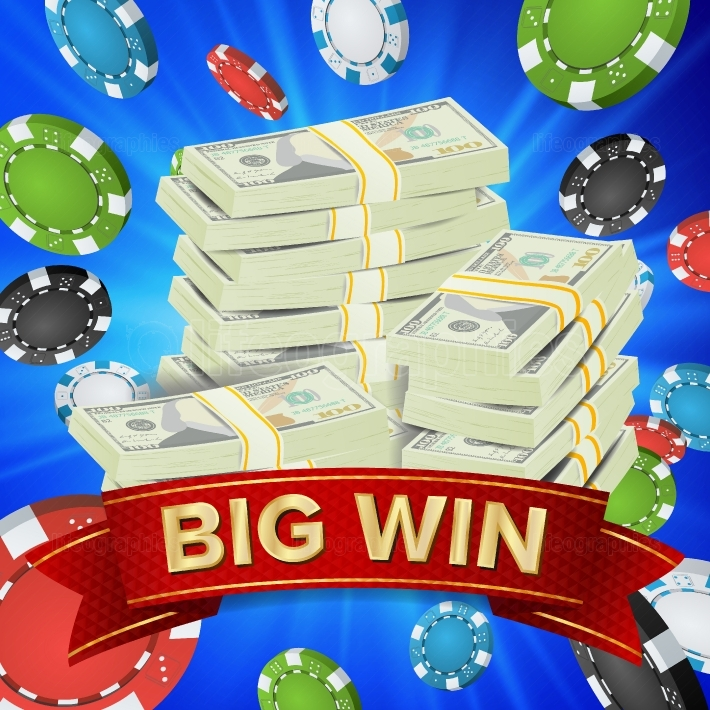 Big Winner Poster Vector  You Win  Gambling Poker Chips  Dollars Money Banknotes Stacks Illustration