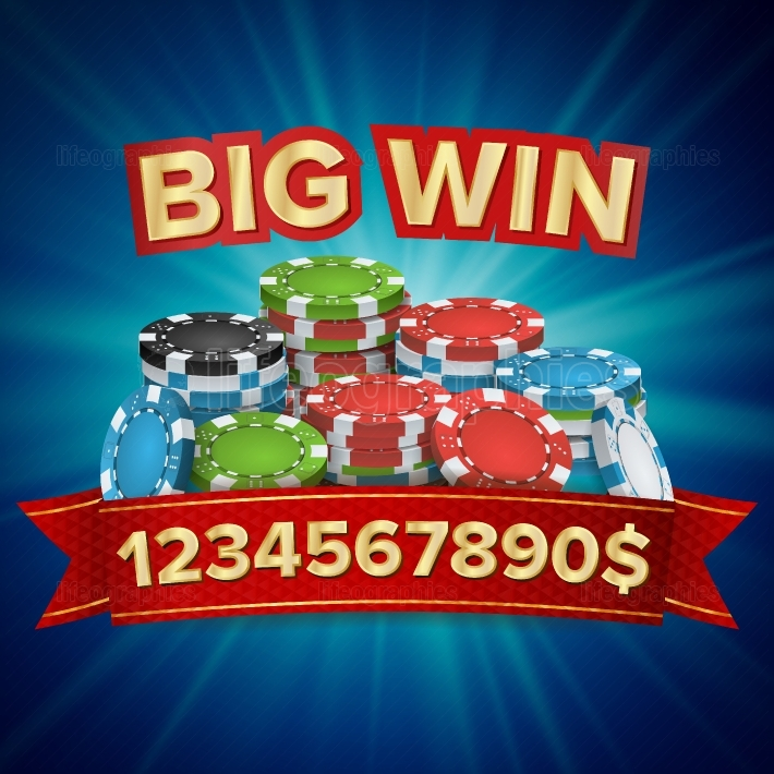 Big Winner Poster Vector  You Win  Gambling Poker Chips Stacks With Red Ribbon