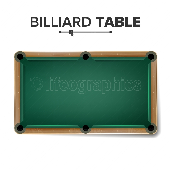 Billiard Table Vector  Classic Green Pool Table  Top View  Isolated Illustration