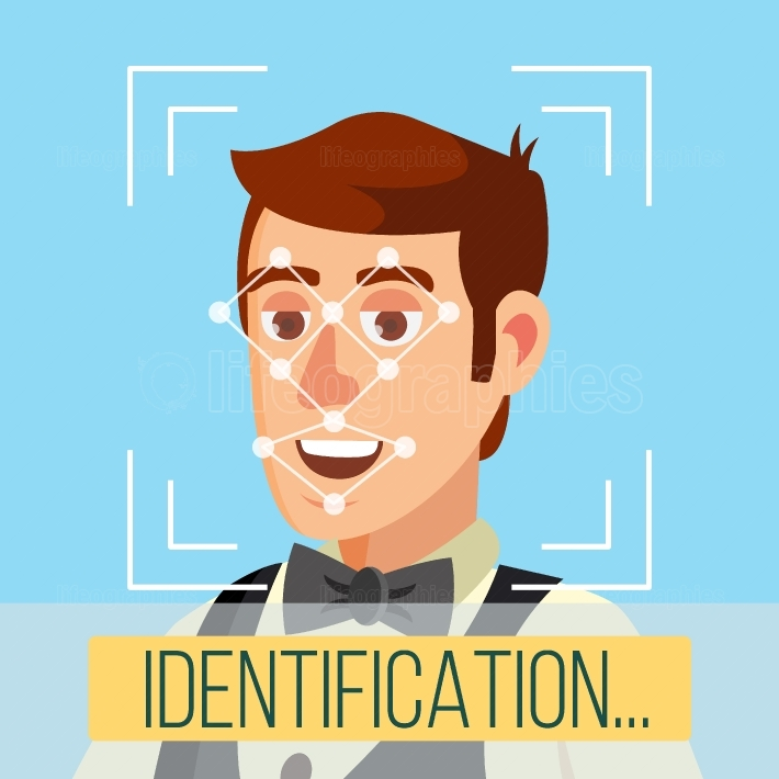 Biometric Face Identification Vector  Human Face With Polygons And Points  Safety Scan Illustration