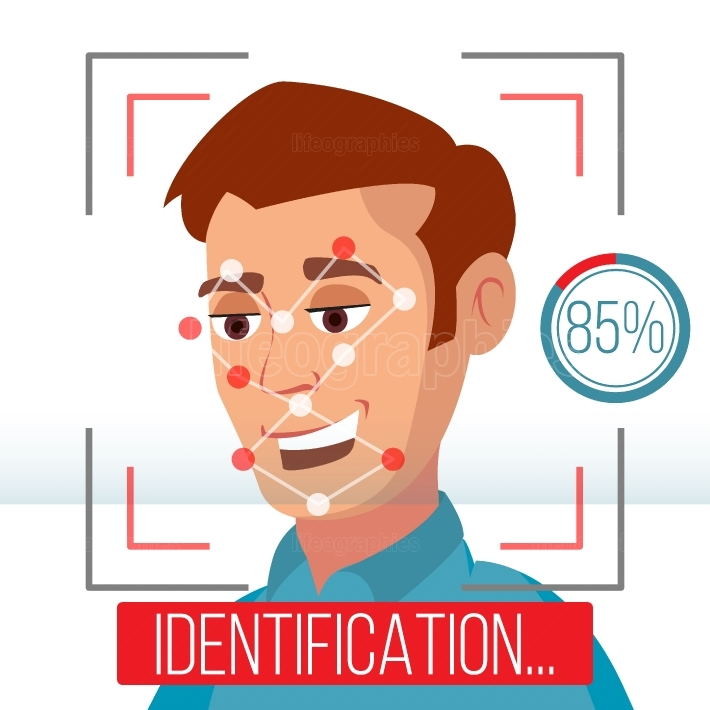 Biometric Facial Identification Vector  Mobile App For Face Recognition  High tech Technology Illustration