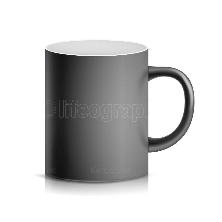 Black Cup, Mug Vector  3D Realistic Ceramic Or Plastic Cup Isolated On White Background  Classic Blank Cup With Handle Illustration  For Business Branding