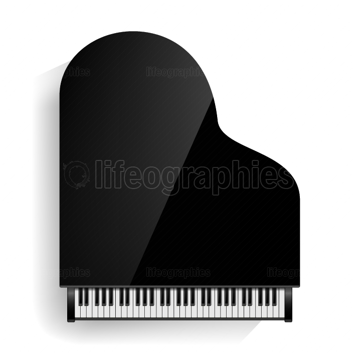 Black Grand Piano Icon Vector With Shadow  Realistic Keyboard  Isolated Illustration