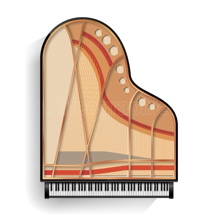 Black Grand Piano Opened Icon Vector With Shadow  Realistic Keyboard  Isolated Illustration