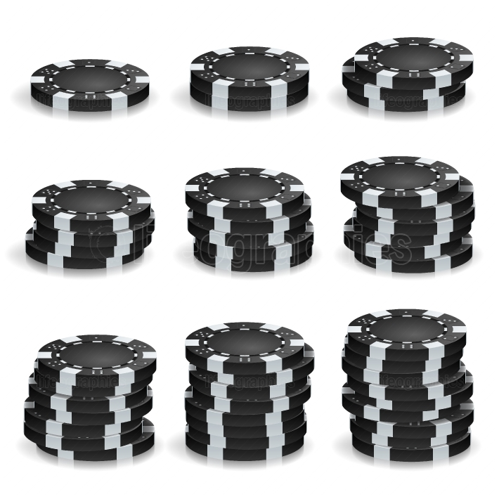 Black Poker Chips Stacks Vector  Realistic Set  Plastic Round Poker Gambling Chips Sign Isolated On White  Casino Big Win, Success Concept Illustration