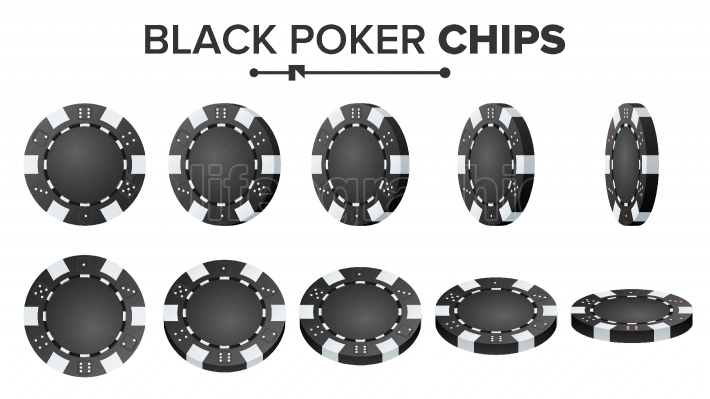 Black Poker Chips Vector  Realistic Set  Plastic Round Poker Game Chips Sign Isolated On White  Flip Different Angles  Big Win, Success Concept Illustration