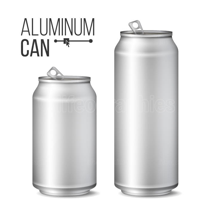 Blank Metallic Can Vector  Silver Can  3D packaging  Mock Up Metallic Cans For Beer Or Soft Drink  500 And 300 ml  Isolated On White Illustration