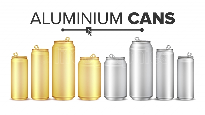 Blank Metallic Cans Set Vector  Empty Layout For Your Design  Energy Drink, Juice, Water Etc  Isolated Illustration
