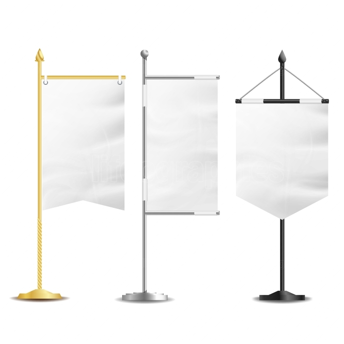 Blank White Flags Pocket Table Vector  Realistic Template Set For Business Promotion And Advertising  Vector Illustration
