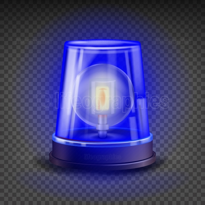 Blue Flasher Siren Vector  3D Realistic