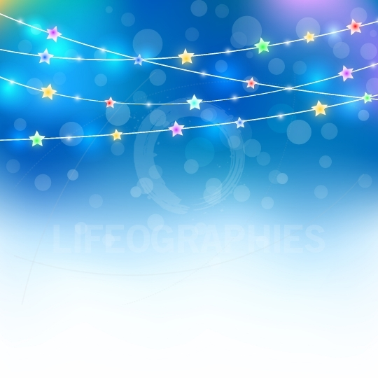 Blue magic holiday background with colored stars and lights effe