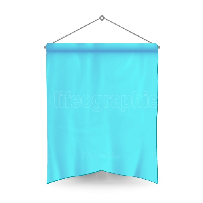 Blue Pennant Template Vector  Empty 3D Pennant Banner Blank  Classic Form