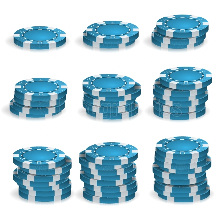 Blue Poker Chips Stacks Vector  3D Realistic  Round Poker Game Chips Sign Isolated On White  Casino Big Win Concept Illustration
