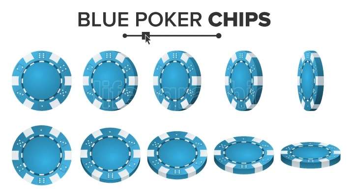 Blue Poker Chips Vector  3D Realistic  Round Poker Game Chips Sign Isolated On White  Flip Different Angles  Big Win Concept Illustration