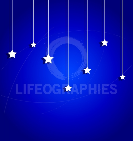 Blue sky with paper star illustration greeting card