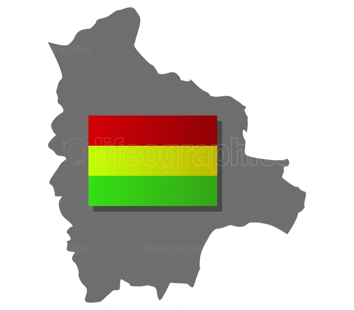 bolivia map with flag