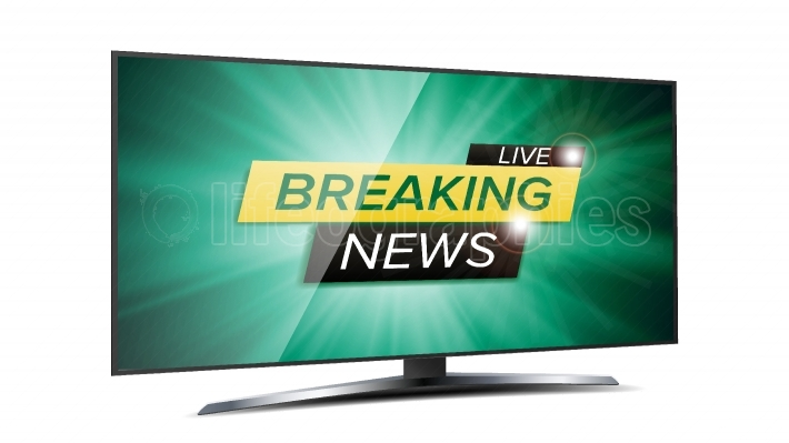 Breaking News Live Background Vector  Green TV Screen  Business Banner Design Template  Isolated On White Illustration