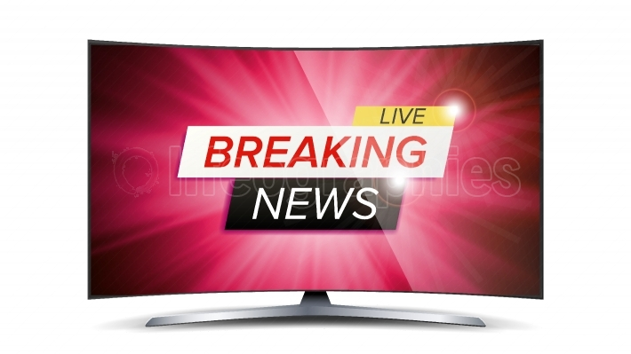 Breaking News Live Vector  Red TV Screen  Technology News Concept  Isolated Illustration