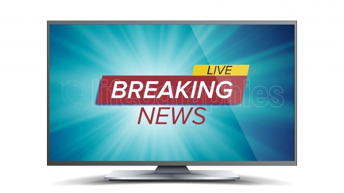 Breaking News Vector  Blue TV Screen  World Global News Concept  Isolated Illustration