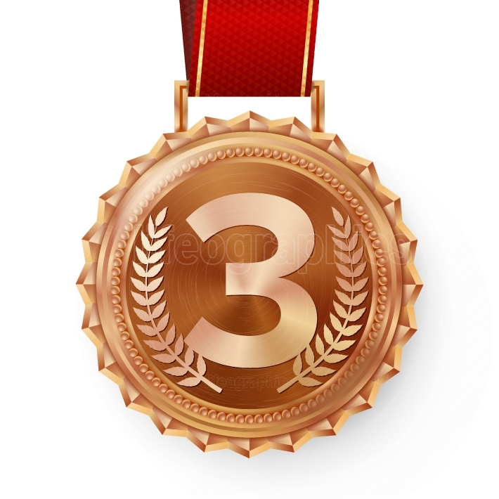 Bronze Medal Vector  Bronze, Copper 3rd Place Badge  Sport Game Bronze Challenge Award  Red Ribbon  Isolated  Olive Branch  Realistic Illustration