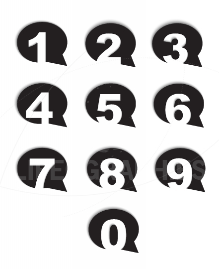 Bubble conversation numbers icons set