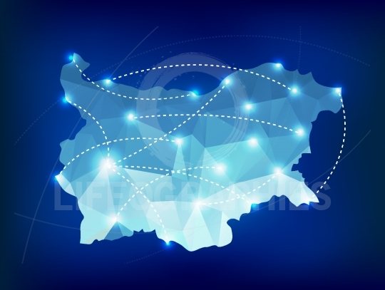 Bulgaria country map polygonal with spot lights places