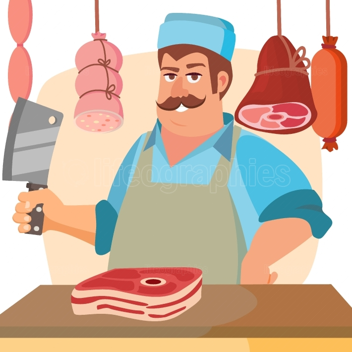 Butcher Character Vector  Classic Professional Butcher Man With Knife  For Steak, Meat Market, Storeroom Advertising Concept  Cartoon Isolated Illustration