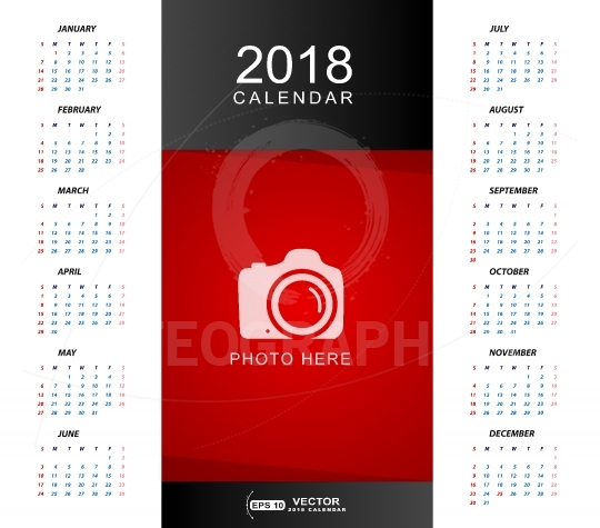 Calendar 2018 with place for photo or copy-space