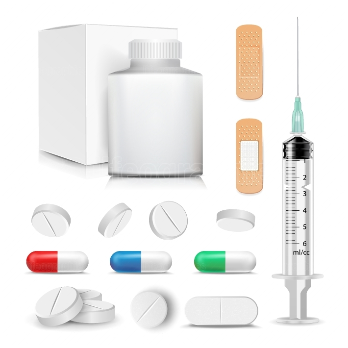 Capsule Pills And Drugs Set Vector  Pharmaceutical Drugs And Vitamin  Syringe, Patch  Antibiotic And Vitamin Pill  Medical Plastic Bottle With Cardboard Packaging  Illustration