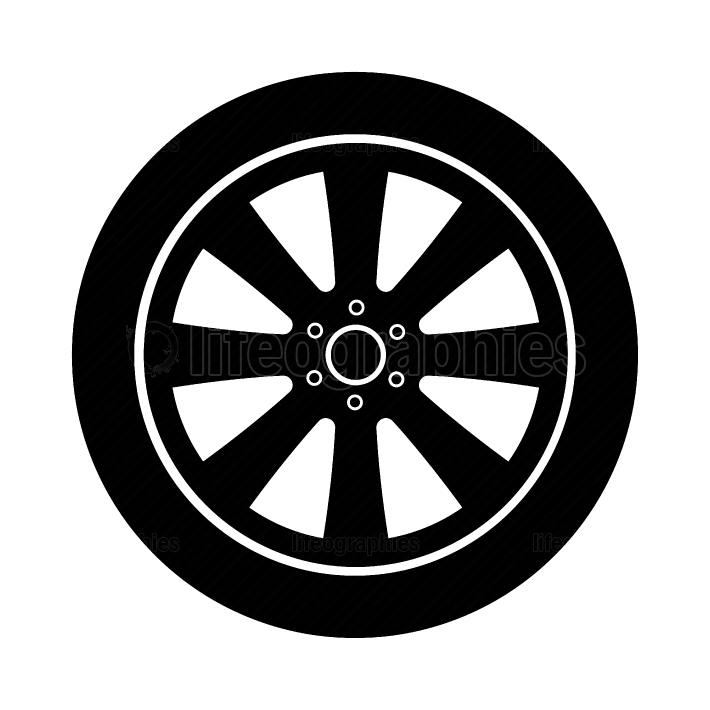 Car wheel black color icon