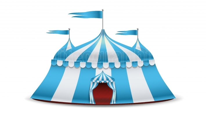Cartoon Circus Tent Vector  Blue And White Stripes  Funfair, Carnival Holidays Concept Illustration
