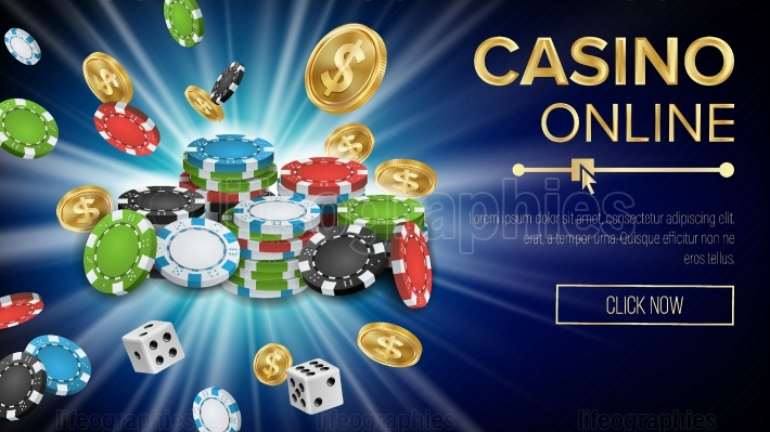 Casino Banner Vector  Jackpot Casino Billboard, Signage, Marketing Luxury Banner, Poster Illustration