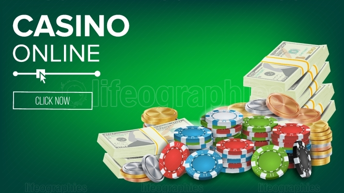 Casino Banner Vector  Online Poker Gambling Casino Banner Sign  Bright Chips, Dollar Coins, Banknotes  Winner Lucky Symbol  Jackpot Casino Billboard, Signage, Marketing Luxury Poster Illustration
