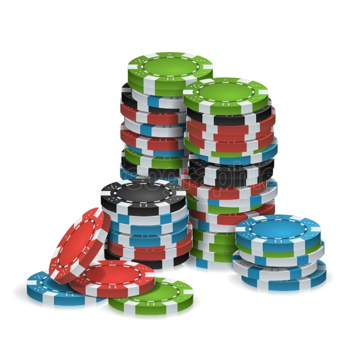 Casino Chips Stacks Isolated Vector  Realistic  White, Red, Black, Blue, Green Casino Chips Illustration