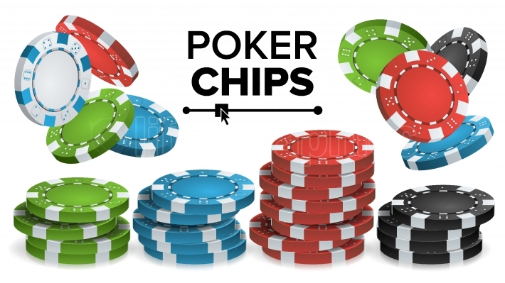 Casino Chips Stacks Vector  3D Realistic  Colored Poker Game Chips Sign Illustration