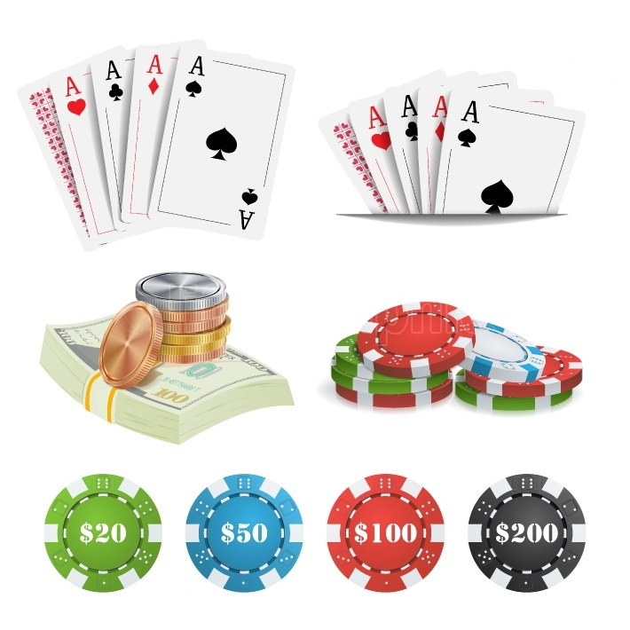 Casino Design Elements Vector  Poker Cards, Chips, Playing Gambling Cards  Lucky Night VIP Winner Isolated Illustration