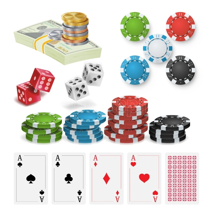 Casino Design Elements Vector  Poker Chips, Playing Cards, Craps  Isolated Illustration