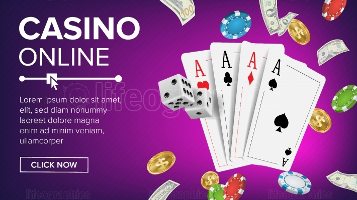 Casino Poker Design Vector  Online Casino Lucky Background Concept  Poker Cards, Chips, Playing Gambling Cards  Realistic Illustration